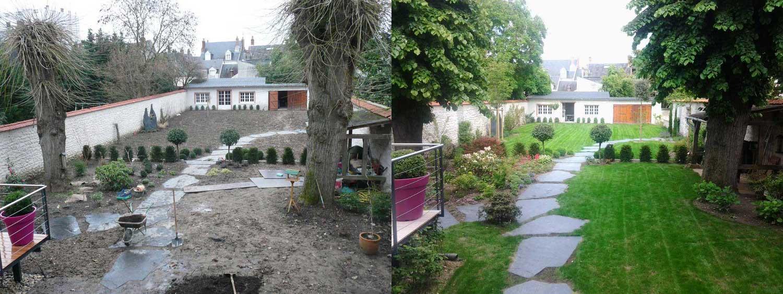 amenagement exterieur jardin avant apres. Black Bedroom Furniture Sets. Home Design Ideas